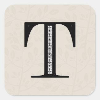 Damask Letter T - Black Square Sticker
