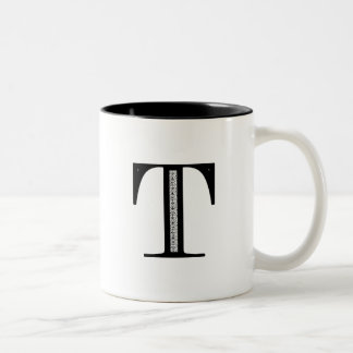Damask Letter T - Black Two-Tone Coffee Mug