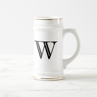 Damask Letter W - Black Beer Stein