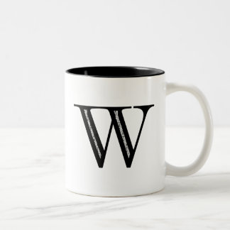 Damask Letter W - Black Two-Tone Coffee Mug