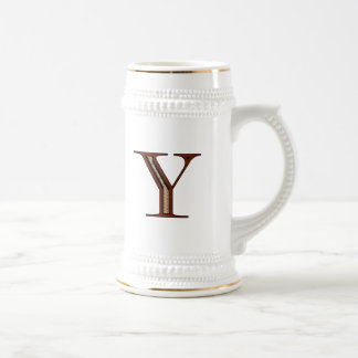 Damask Letter Y - Red Beer Stein