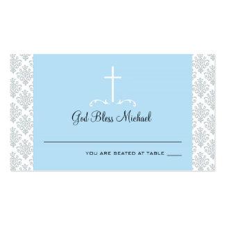Damask Light Blue Cross Seating Card Business Card Template