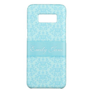 Damask light blue custom name iphone case