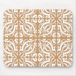 Damask - Light Brown & White Mouse Mat