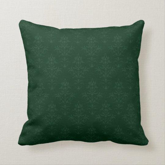 Damask Look Cushion in Dark Green