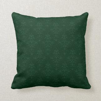 Damask Look Cushion in Dark Green Throw Pillows