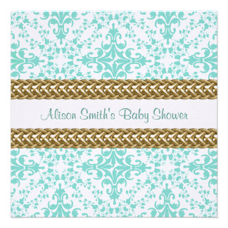 Damask Lt Blue White Gold Personalized Announcement