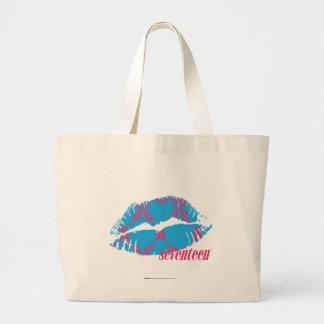 Damask Magenta-Aqua Large Tote Bag