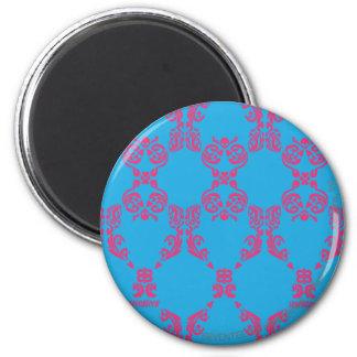 Damask Magenta-Aqua 6 Cm Round Magnet
