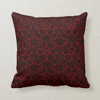 Damask Maroon Black Cushion