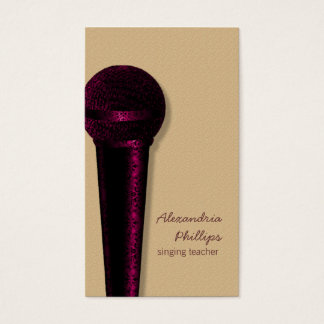 Damask Microphone Business Card, Dark Pink Business Card
