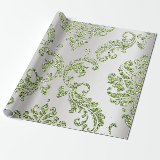 Damask Mint Green  Royal Metallic Silver Glitter Wrapping Paper