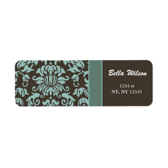 damask mocha address label