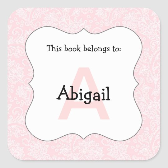 Damask monogram book plate stickers pink