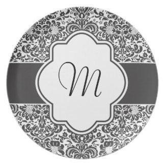 Damask Monogram Graphic Plate