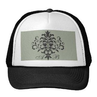 Damask Monogram in Elegant Gray or Grey Cap