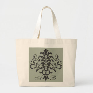 Damask Monogram in Elegant Gray or Grey Large Tote Bag