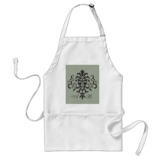 Damask Monogram in Elegant Gray or Grey Standard Apron
