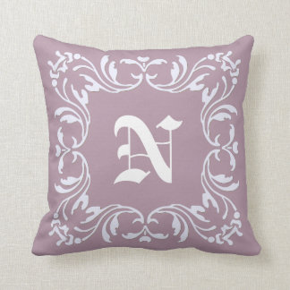 Damask Monogram on Mountbatten pink background Cushion