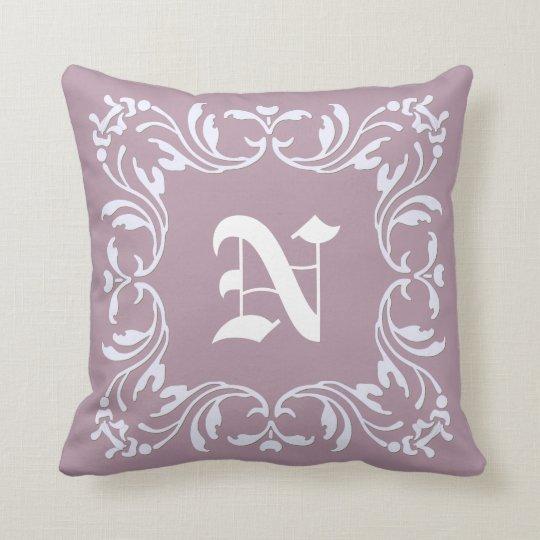 Damask Monogram on Mountbatten pink background Cushion