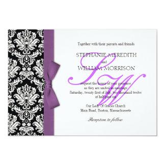 Damask Monogram Purple Bow Wedding Invitation