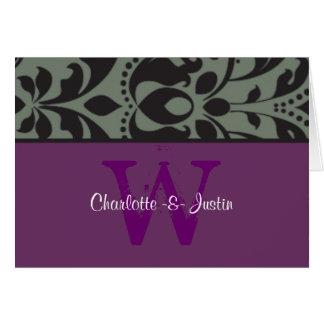 damask monogram purple note card