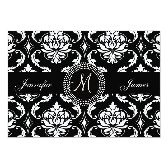 Damask Monogram RSVP Cards for Square Invite