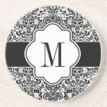 Damask Monogram Sandstone Coaster