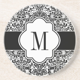 Damask Monogram Sandstone Coaster