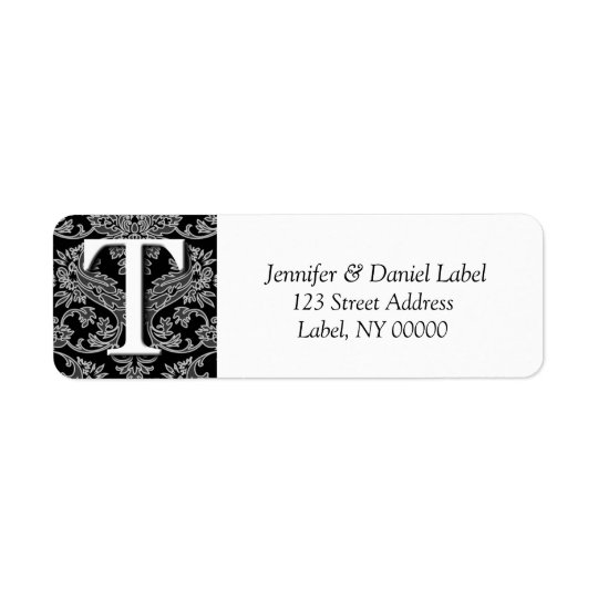 Damask Monogram T Address Shipping Labels