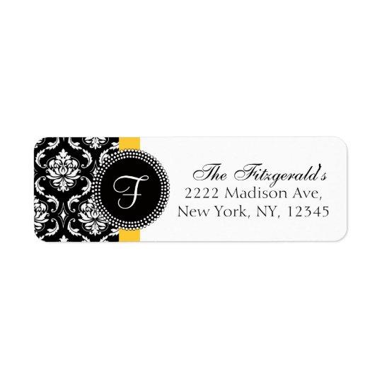 Damask Monogram Wedding Address Labels Yellow
