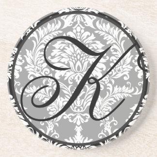 Damask Monogram Wedding Anniversary Coasters