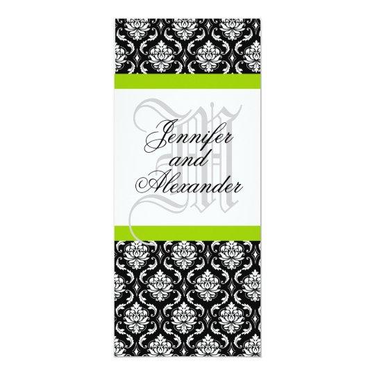 Damask Monogram Wedding Invitation Green