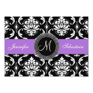 Damask Monogram Wedding Invitations Purple