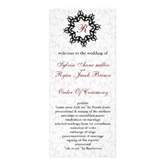 Damask MONOGRAM Wedding program Custom Rack Card