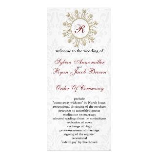 Damask MONOGRAM Wedding program Full Color Rack Card