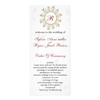 Damask MONOGRAM Wedding program Rack Card Design