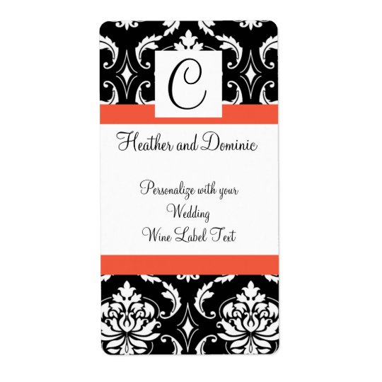 Damask Monogram Wedding Wine Label Papaya