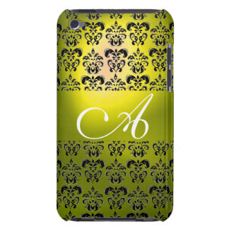 DAMASK  MONOGRAM yellow Barely There iPod Cases