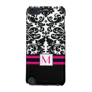 Damask Monogrammed IPod Touch Case Black Hot Pink