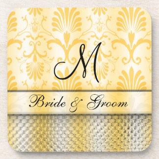 Damask Monogrammed Wedding Coasters