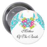 Damask Mother of the Bride Button / Pin Turquoise