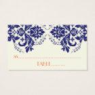 Damask motif navy blue, coral wedding place card