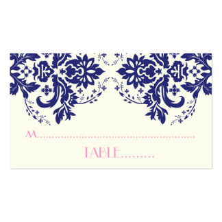 Damask motif navy blue pink wedding place card business card templates