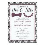 Damask Mr. and Mrs. Shower Invitation (Eggplant) 13 Cm X 18 Cm Invitation Card
