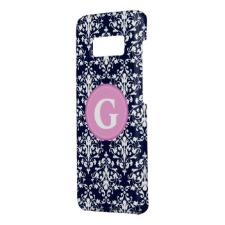 Damask Navy Blue and White Pattern Monogram Case-Mate Samsung Galaxy S8 Case