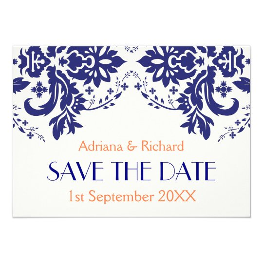 Damask navy blue, coral wedding Save the Date