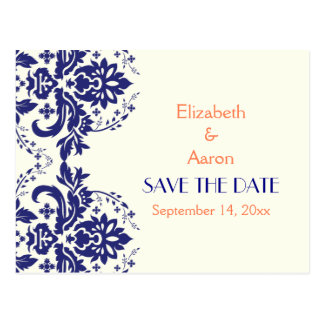 Damask navy blue, coral wedding Save the Date Postcard