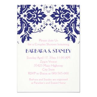 Damask navy blue, pink wedding couples shower 13 cm x 18 cm invitation card