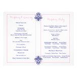 Damask navy blue, pink wedding program 21.5 cm x 28 cm flyer